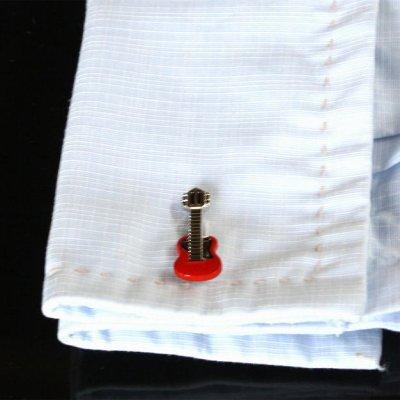 画像3: レッドギターカフスボタン(カフリンクス)
