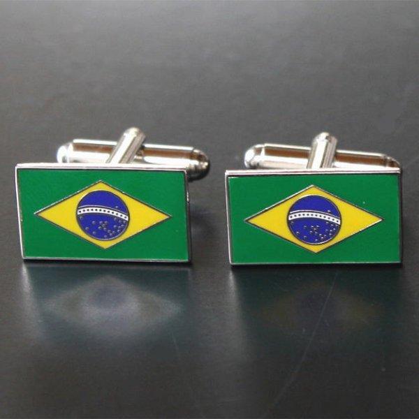 画像1: ブラジル国旗カフスボタン(カフリンクス) (1)