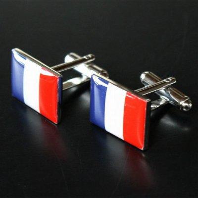 画像1: フランス国旗カフスボタン(カフリンクス)