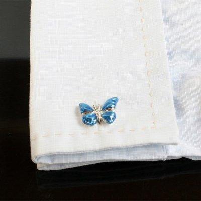 画像3: ブルー蝶々カフスボタン(カフリンクス)