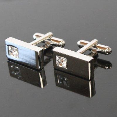 画像1: ポイントクリスタルカフスボタン(カフリンクス)