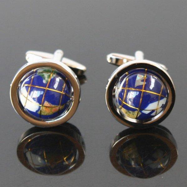 画像1: ブルー地球儀カフスボタン(カフリンクス) (1)