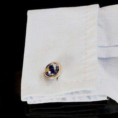 画像3: ブルー地球儀カフスボタン(カフリンクス)