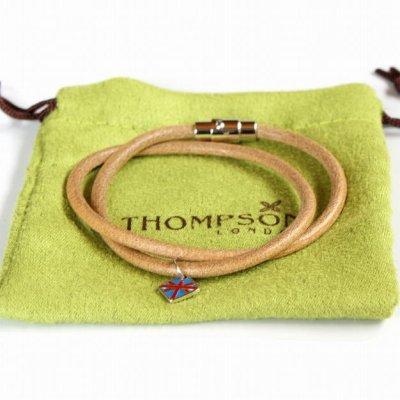 画像3: THOMPSON トンプソン ユニオンジャック付ナチュラルラウンドレザーブレスレット