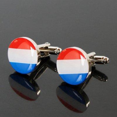 画像1: オランダ国旗ラウンドカフスボタン(カフリンクス)