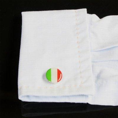 画像3: イタリア国旗ラウンドカフスボタン(カフリンクス)