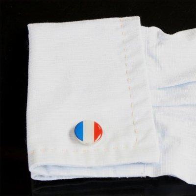 画像3: フランス国旗ラウンドカフスボタン(カフリンクス)