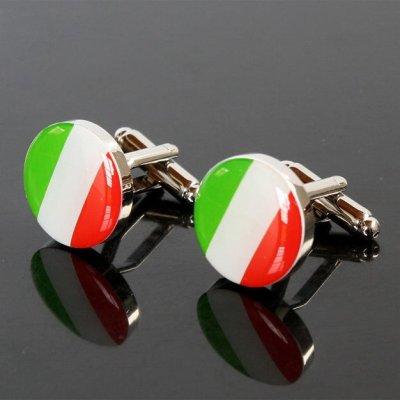 画像1: イタリア国旗ラウンドカフスボタン(カフリンクス)