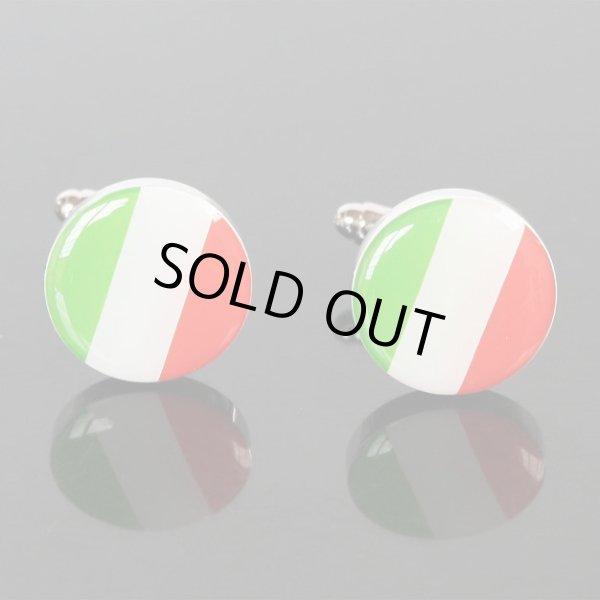 画像1: イタリア国旗ラウンドカフスボタン(カフリンクス) (1)