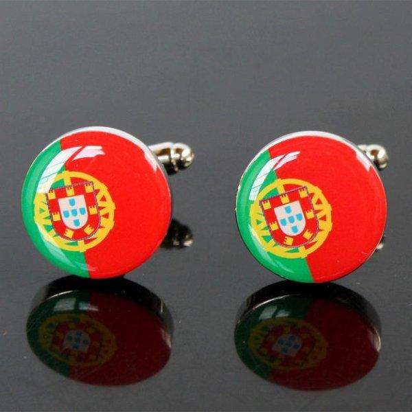 画像1: ポルトガル国旗ラウンドカフスボタン(カフリンクス) (1)