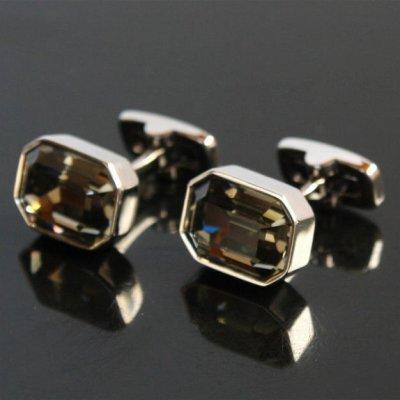 画像1: ブラックダイヤモンドスワロフスキー・レクタングルカフスボタン(カフリンクス)