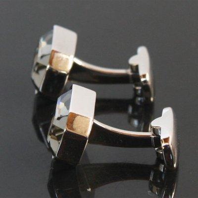 画像2: ブラックダイヤモンドスワロフスキー・レクタングルカフスボタン(カフリンクス)