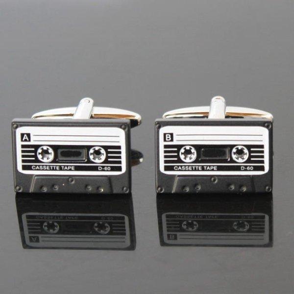 画像1: カセットテープ2カフスボタン(カフリンクス) (1)