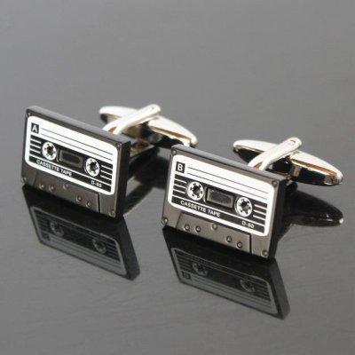 画像1: カセットテープ2カフスボタン(カフリンクス)
