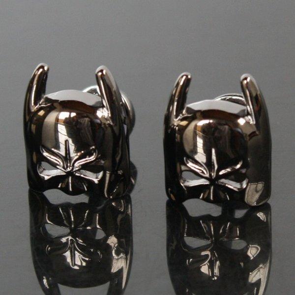 画像1: ブラックバットマンマスクカフスボタン(カフリンクス) (1)