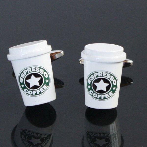 画像1: コーヒーカップカフスボタン(カフリンクス) (1)