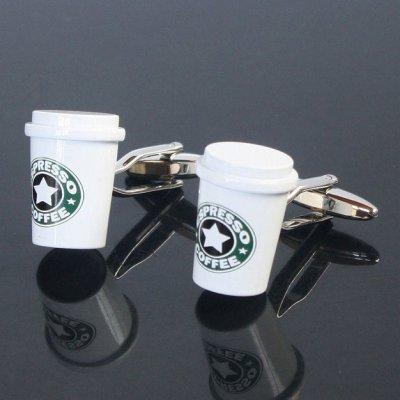 画像1: コーヒーカップカフスボタン(カフリンクス)