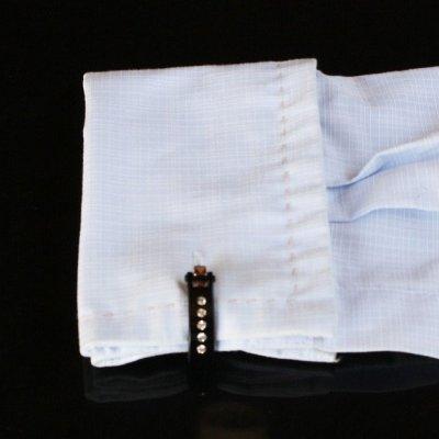 画像3: クリスタル付ブラック・トライアングル・ラップアラウンドカフスボタン(カフリンクス)