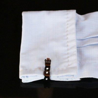 画像3: クリスタル付ガンメタ・変形ラップアラウンドカフスボタン(カフリンクス)