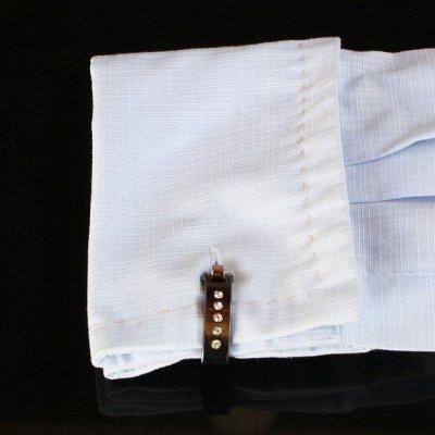 画像3: クリスタル付ガンメタ・トライアングル・ラップアラウンドカフスボタン(カフリンクス)