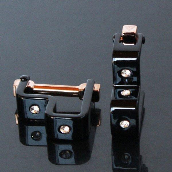 画像1: クリスタル付ブラック・変形ラップアラウンドカフスボタン(カフリンクス) (1)