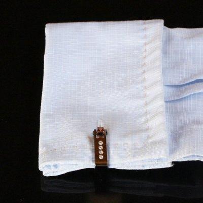 画像3: クリスタル付ガンメタ・ラップアラウンドカフスボタン(カフリンクス)