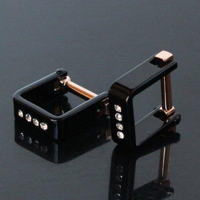 画像1: クリスタル付スクエアー・ブラックラップアラウンドカフスボタン(カフリンクス)