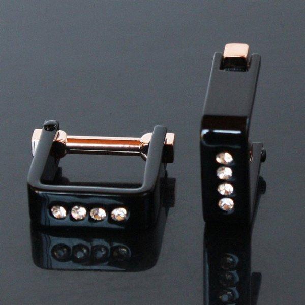 画像1: クリスタル付スクエアー・ブラックラップアラウンドカフスボタン(カフリンクス) (1)