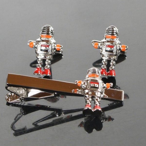 画像1: おもちゃのロボットカフス タイピンセット (1)