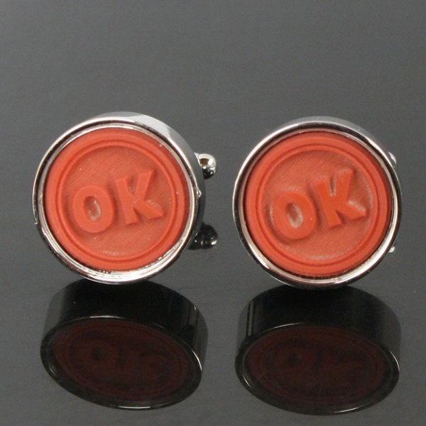 画像1: OKスタンプカフスボタン(カフリンクス) (1)