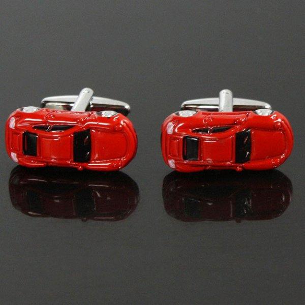 画像1: レッドスポーツカーカフスボタン(カフリンクス) (1)