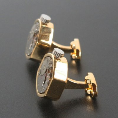 画像2: ムーブメントゴールドカフスボタン(カフリンクス)