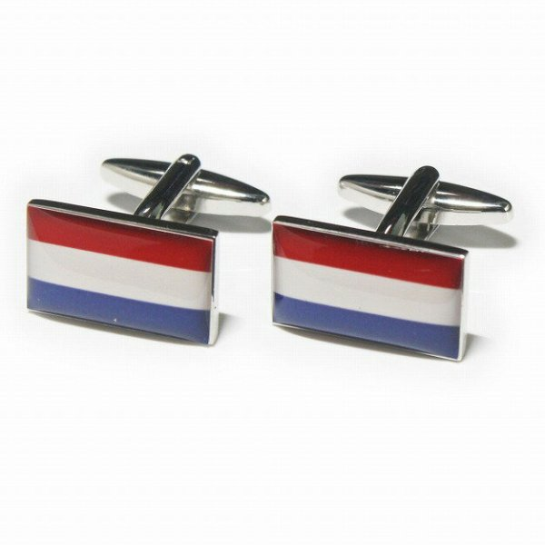 画像1: オランダ国旗カフスボタン(カフリンクス) (1)