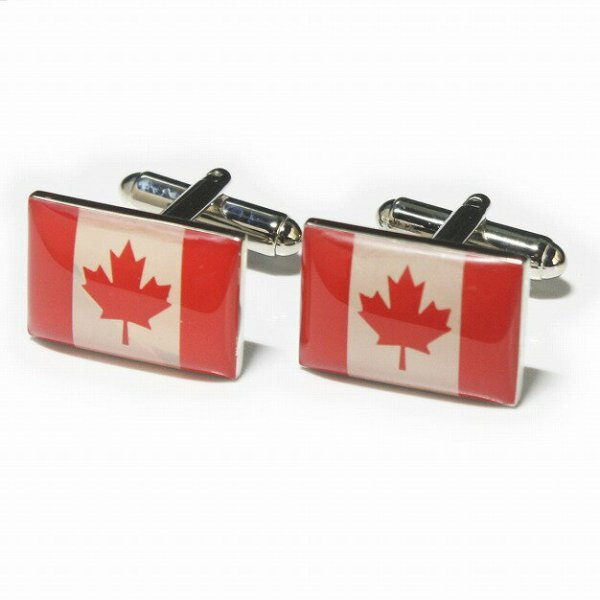 画像1: カナダ国旗カフスボタン(カフリンクス) (1)