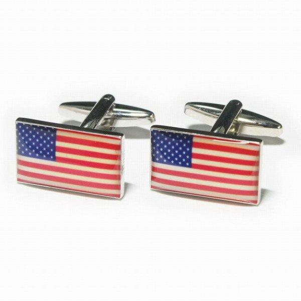 画像1: アメリカ国旗カフスボタン(カフリンクス) (1)