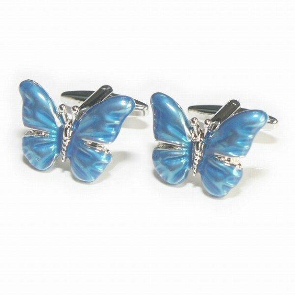 画像1: ブルー蝶々カフスボタン(カフリンクス) (1)