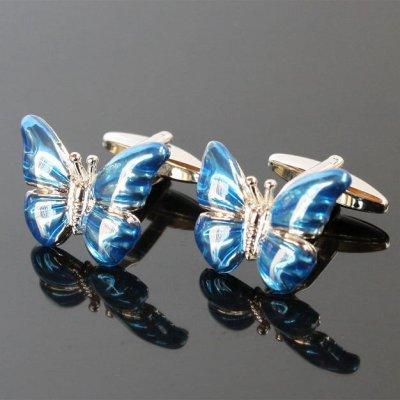 画像1: ブルー蝶々カフスボタン(カフリンクス)
