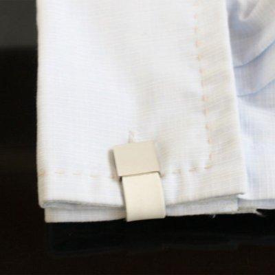 画像3: ホワイトレザー・ラップアラウンドカフスボタン(カフリンクス)