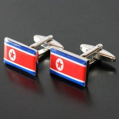 画像1: 北朝鮮国旗カフスボタン(カフリンクス)