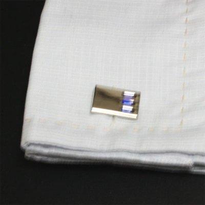 画像3: スリーブルークリスタルカフスボタン(カフリンクス)