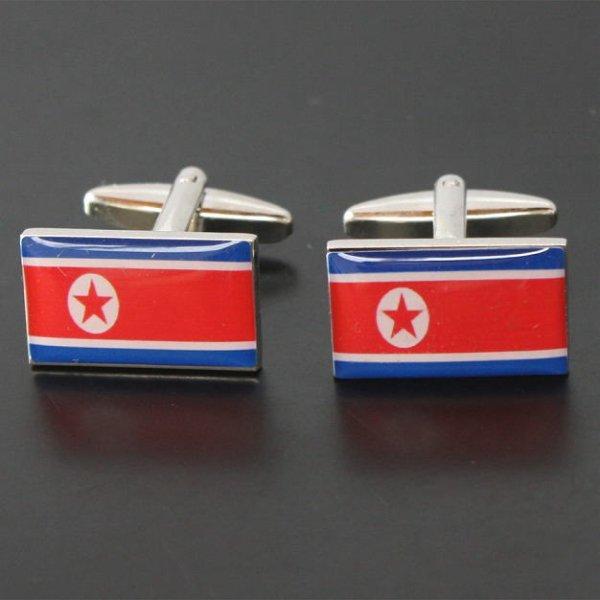 画像1: 北朝鮮国旗カフスボタン(カフリンクス) (1)