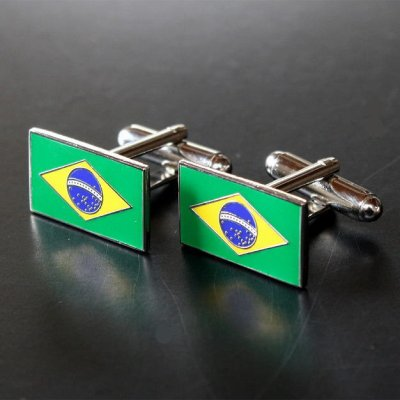 画像1: ブラジル国旗カフスボタン(カフリンクス)