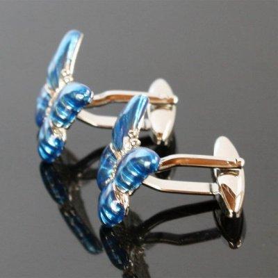 画像2: ブルー蝶々カフスボタン(カフリンクス)