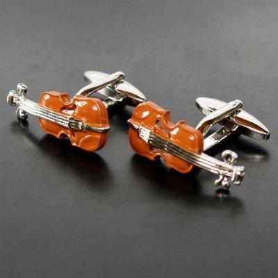 画像1: ブラウン ヴァイオリンカフスボタン(カフリンクス)