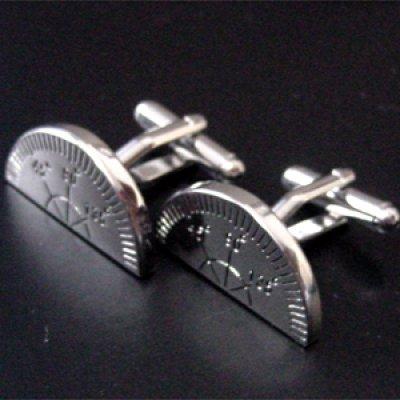 画像1: 分度器カフスボタン(カフリンクス)