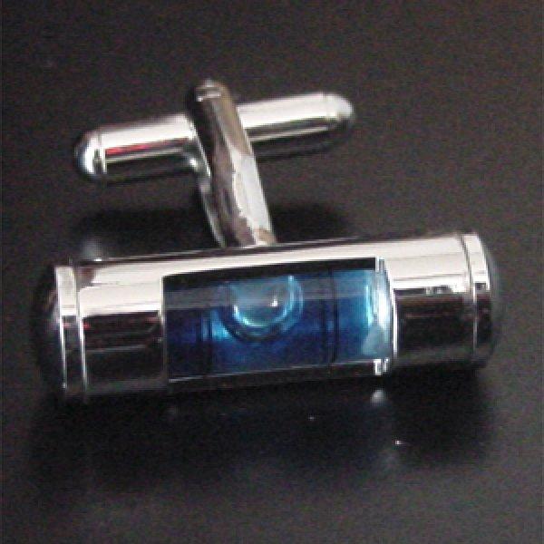画像1: 水準器(青)・カフスボタン(カフリンクス) (1)
