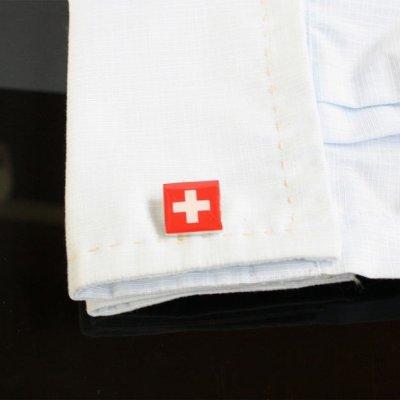 画像3: スイス国旗カフスボタン(カフリンクス)