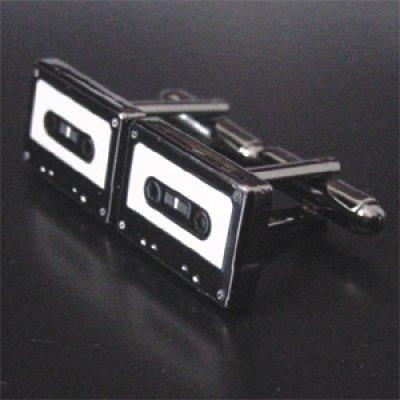 画像1: カセットテープカフスボタン(カフリンクス)