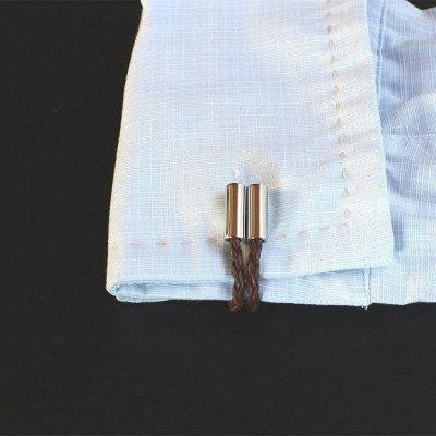 画像3: ダークブラウンレザー編込みカフスボタン(カフリンクス)