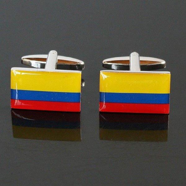 画像1: コロンビア国旗カフスボタン(カフリンクス) (1)